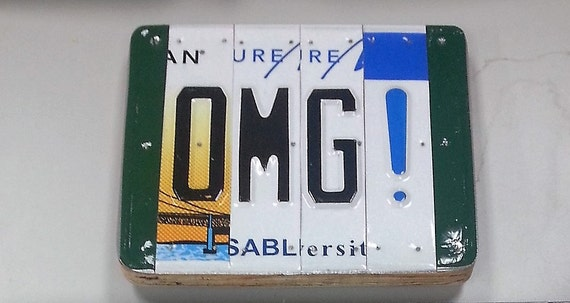 OMG! License plate letters sign