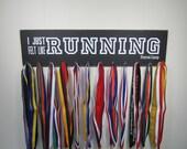 "24"" x 6"" Running Medal Holder Display Rack - Forrest Gump Quote - I Just Felt Like Running - 5K, 15K, Marathon, Half-Marathon, Cross Country"