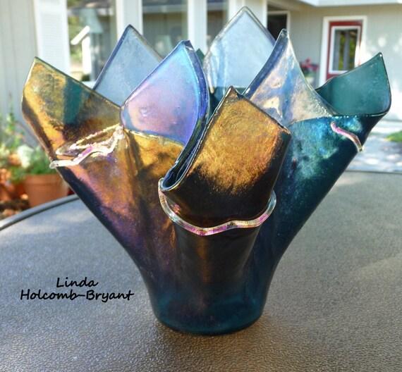 Handmade Fused Glass Iridescent Blue Purple Glass Vase