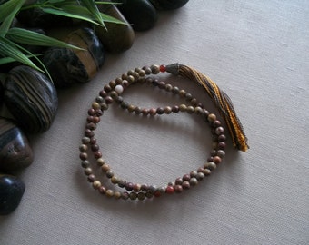 Buddhist Mala Necklace Tibetan Mala Meditation Beads Prayer Bead Jewelry Handmade Mala Necklace Tassel Jasper Agate Mala Necklace Tassle