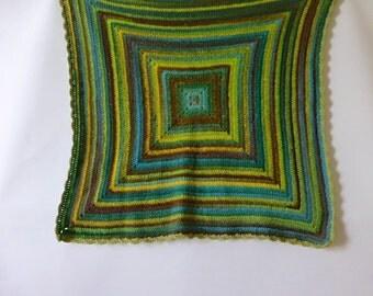 Crochet blanket, wool blanket tones of green and brown, crochet throw, crochet afghan, wall hanging, wall art, Free UK shipping, photo prop