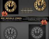 New Republic Symbol, Star Wars The Force Awakens Movie, Logo, poster, printable, greeting card, stationery, tags, birthday invitation, shirt