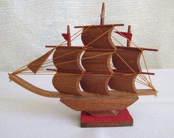 Vintage Wooden Clipper Ship / Boat