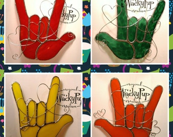 Choice of Rainbow of Sign Language I Love You Hands Red Orange Green Stained Glass ASL