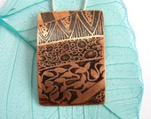 Copper pendant ~ Copper Necklace Oxidized Jewellery Etched Zentangle Zen Doodle Jewelry 7th Wedding Anniversary Gift for Women