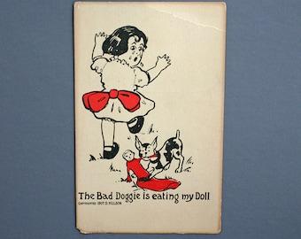 Vintage Postcard - Unused Postcard - Funny Vintage Postcard - Funny postcard - Bad Dog - Bad Doggie Is Eating My Doll