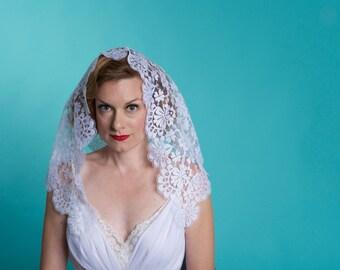 Vintage White Mantilla Wedding Veil - Floral Lace  - Bridal Fashions