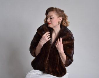 Vintage 1950s Mahogany Mink Stole - Genuine Fur - Winter Bridal Fashions