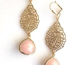 Gold Paisley and Peach Jade Dangle Earrings. Long Gold Dangle Earrings.  Dangle Earrings.  Modern Jewelry. Chandelier Earrings. Gift for Her