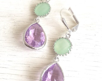 Lavender Purple and Mint Jewel Drop Earrings in Silver.  Mint Green and Purple Bridesmaid Dangle Earrings. Jewelry Gift.  Mothers Day Gift.