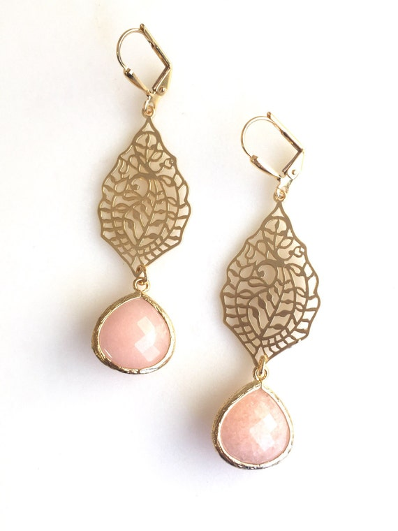 Gold Paisley and Peach Jade Dangle Earrings. Long Gold Dangle Earrings.  Dangle Earrings.  Modern Jewelry. Chandelier Earrings. Gift for Her