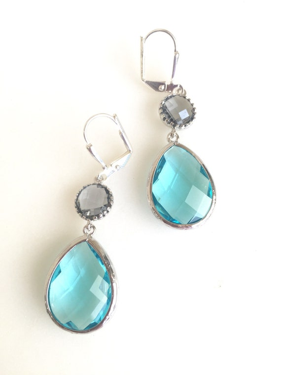 Aquamarine and Charcoal Dangle Earrings in Silver. Drop Earrings. Bridesmaids Earrings. Gift. Wedding Jewelry. Aqua Dangle Earrings. Gift.