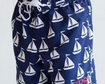 SALE  Boy's  Swim Trunks Monogrammed-Sailboat Swim Trunks-Boy's Beach Wear-Personalized