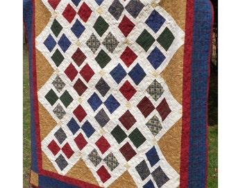 Quilt Pattern -  Off To Argyle Flannel Quilt Pattern - Throw Size - HARD COPY VERSION
