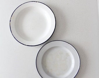 SALE vintage enamelware plate collection, 2 white and blue enamel plates