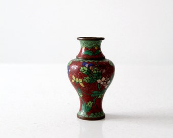 vintage Chinese cloisonné vase, small red floral vase
