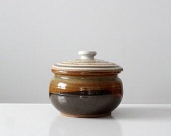 SALE vintage studio pottery, ceramic jar with lid
