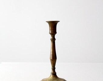 SALE antique brass candlestick holder, baluster candle holder