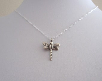 DRAGONFLY sterling silver charm pendant with necklace chain