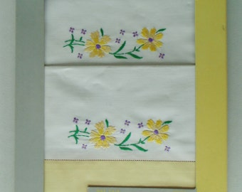 """Embroidered Pair Of Yellow Daisies Riegal Pillow Cases In Original Package 42"""" By 36"""" Color Fast VERY NICE"""