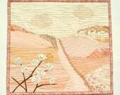 Landscape textile art, pastel art quilt, cream rose quartz, Textile Wall Art, Wall Hanging, home decor, delicate romantic decoration