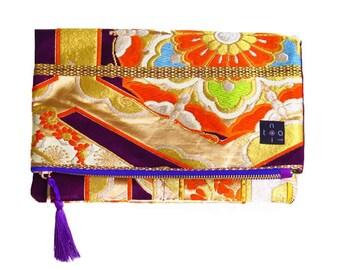 "Kimono Clutch Bag  ""Purple Flower"""