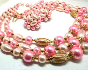 Vintage Necklace/Earrings PINK Gold Beaded triple strand Retro Glamour Party to Fun!