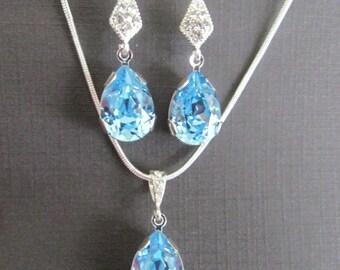 Bridesmaid Jewelry, Aqua Bridesmaid Jewelry, Swarovski Aquamarine Crystal, Blue Bridesmaid Earrings, Blue Bridesmaid Necklace,Bridesmaid Set