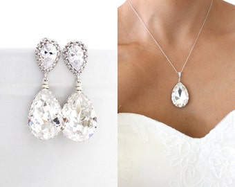Clear Swarovski Bridal Jewelry Set, Cubic Zirconia Wedding Sets, Statement Bridal Earrings and Necklace Set, Crystal Wedding Jewelry Set