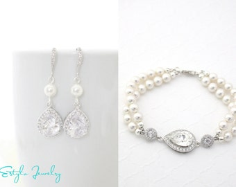 Wedding Jewelry Sets for Brides, Victorian Style Wedding Jewelry, Earring and Bracelet Set, Bridal Jewelry Pearl, Cubic Zirconia Jewelry Set