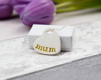 gift for mum necklace, mum necklace, mum gift, ceramic pendant