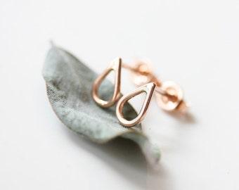 Teardrop stud earrings, rain, droplet, small 14k gold everyday stud earrings, sterling silver, minimal, delicate - Raine Stud Earrings