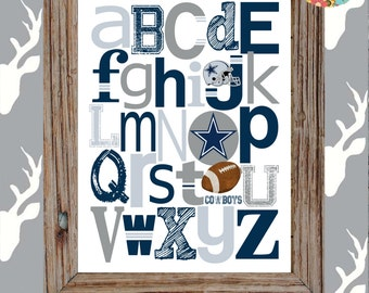 DALLAS COWBOYS football ABC Nursery Art Print