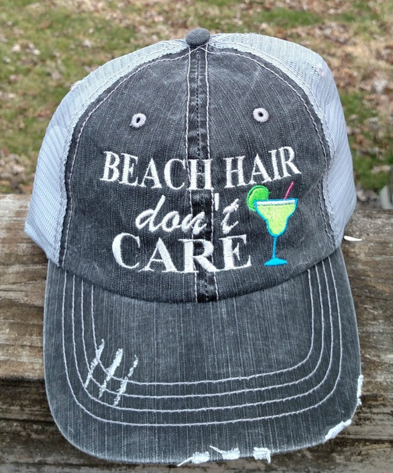 Beach Hair Don't Care with margirtia embroiderd hat by ...