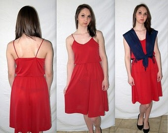 3 times a lady .. vintage 70s 80s dress / disco sundress / high waist waisted / boho strappy  semi sheer / S M