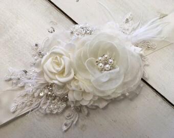 Soft ivory wedding sash - ivory bridal sash - antique white bridal sash - ivory floral sash - wedding sash
