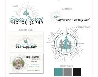 Branding Set - Pine Trees & Starburst - Teal - Logos, Watermark, Business Card - Customizable - Predesigned - Premade
