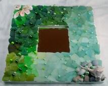 Genuine sea glass miror, white square mirror, mosaic, emerald, olive, aqua, teal, seaweed, handmade, shells, pebbles