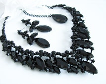 Black Faceted Glass Sparkle Statement Wedding Necklace in  black finish Great Bridal Wedding Jewelry Pageant Jewelry