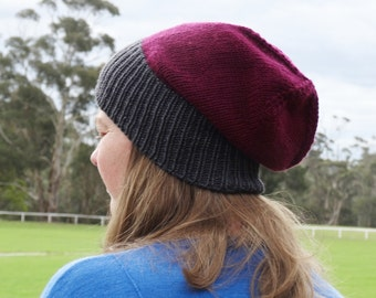 Burgundy and Grey Slouchy Beanie - Wool and Cashmere Blend - Ready to Ship