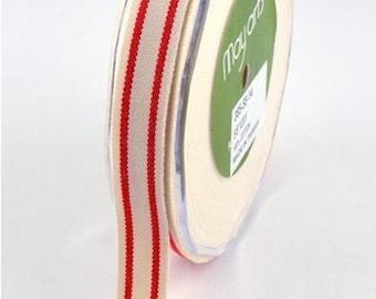 red  and cream ticking stripe trim,ribbon,