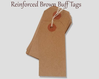 """25 Recycled Kraft Brown Tags -  Parcel Tags - Blank - Cardstock - 4 3/4"""" x 2 3/8"""" - Eco Friendly Packaging - Plain - 4.75"""""""