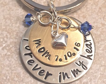 Memorial Keychain, Forever In My Heart, Loss Of Loved One, Loss of Mom, Loss of Dad, Memorial Gift, natashaaloha