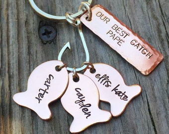 Fishing Keychain, Boyfriend Gift, Father Gift, Fishing Gifts, Personalized Fishing Keychain, Our Best Catch Dad,  natashaaloha
