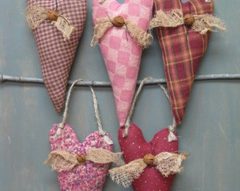 Primitive Valentine Hanging Hearts - Wedding - Anniversary - Valentine's Day - Fabric Grungy Hearts on Jute - Set of 5 - Country Home Decor