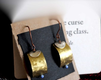 Distressed brass earrings with silver and blue enamel