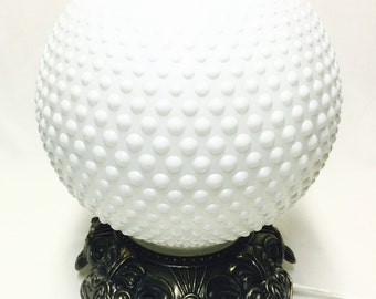 Large Hobnail Milk Glass Glass Globe with Vintage Base Accent Lamp for Mothers Day