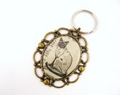 Siamese Cat Key Chain - Dictionary Artwork - Hand Drawn Illustration, Vintage, Antique Brass