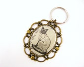 Siamese Cat Key Chain - Dictionary Artwork - Hand Drawn Illustration, Vintage, Antique Brass