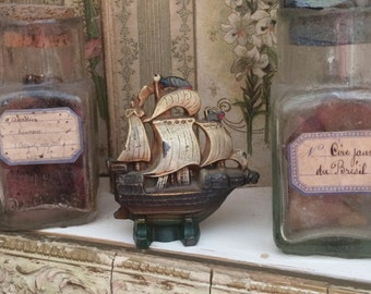 No One Could Sail The Seas In This Antique Cast Metal Painted Small Ship